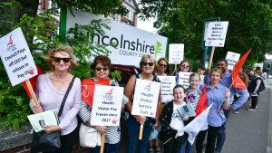 Lincolnshire Health Visitors lobby council offices