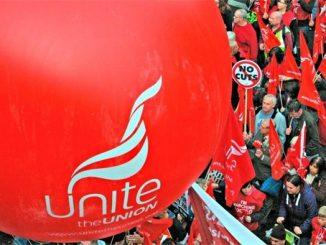 Unite balloon on march in Scotland