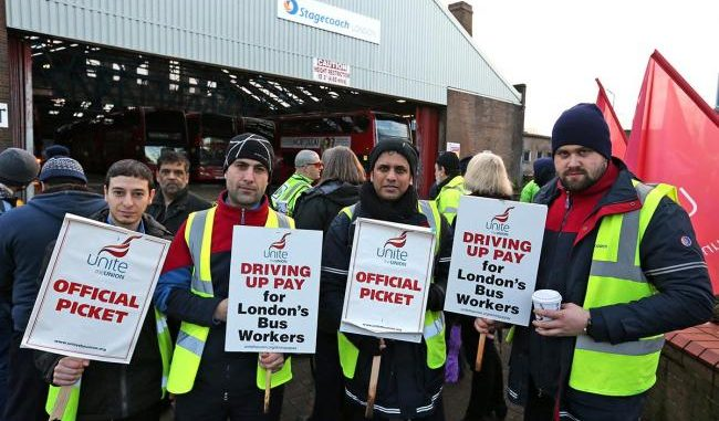 London bus drivers striking over pay