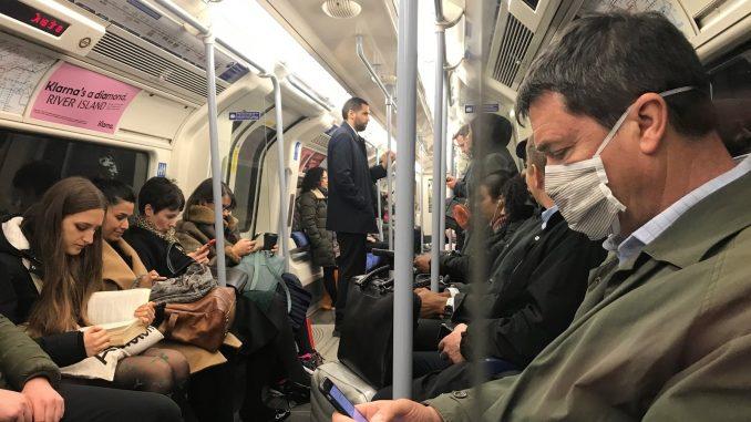 Crowded London tube trains