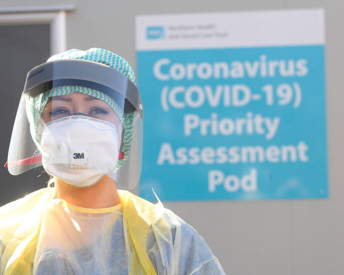 Medical worker at test centre