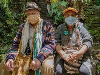 Colombians with coronavirus masks