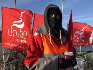 Striking Heathrow transport worker
