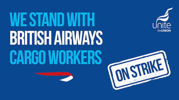 British Airways cargo workers on strike